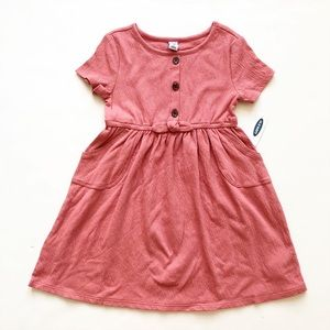 Old Navy NWT pink /mauve button front bow dress 5T